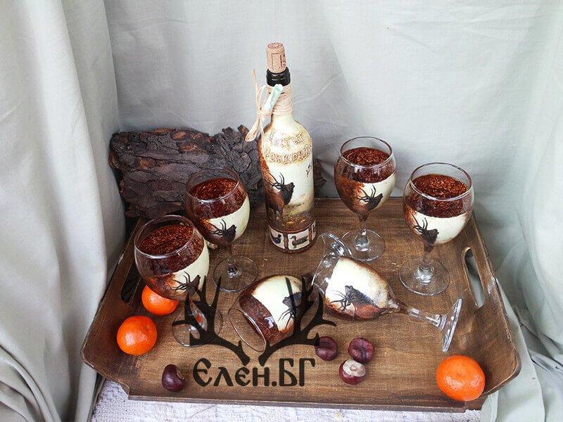 """Бутилка и чаши за вино """"Ловен сезон"""""""