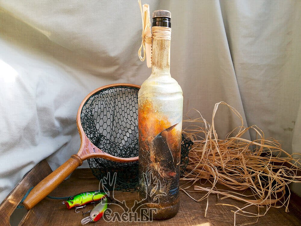 """Подарък бутилка """"За най-добрия рибар"""""""