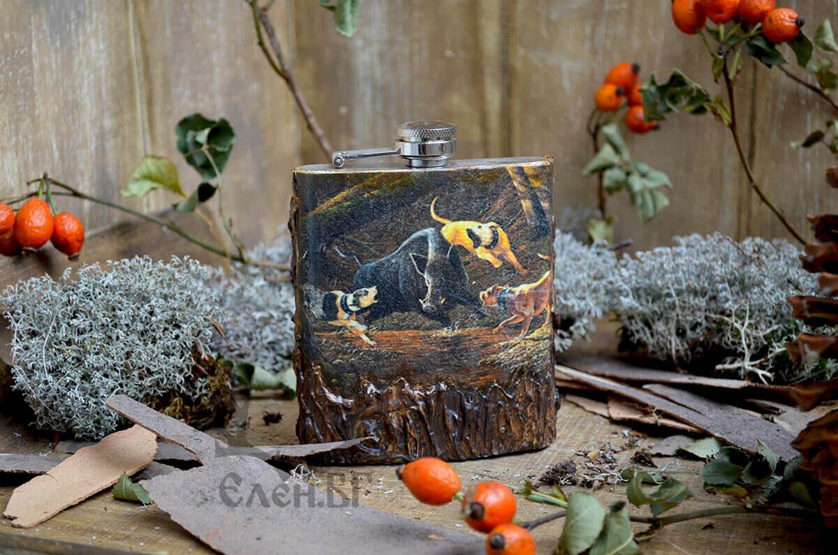 Джобна плоска бутилка Мъдър стар ловец
