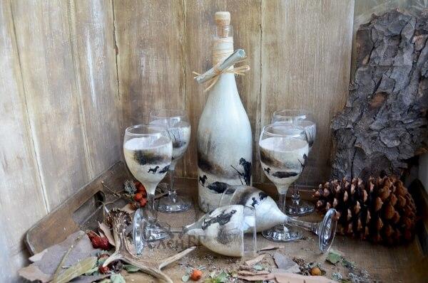 """Комплект чаши за ракия и бутилка """"Лов"""""""