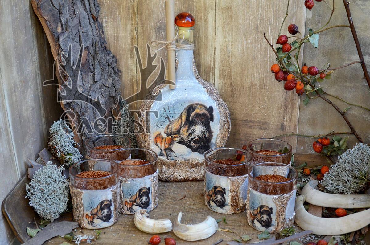 Ловен сервиз с бъклица и 6 чаши